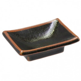 Yuzu Tenmoku Rectangle Soy Sauce Dish 10x7x4cm